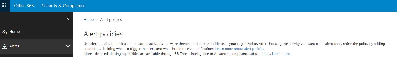 Activity Alerts Alert Policies Screenshot