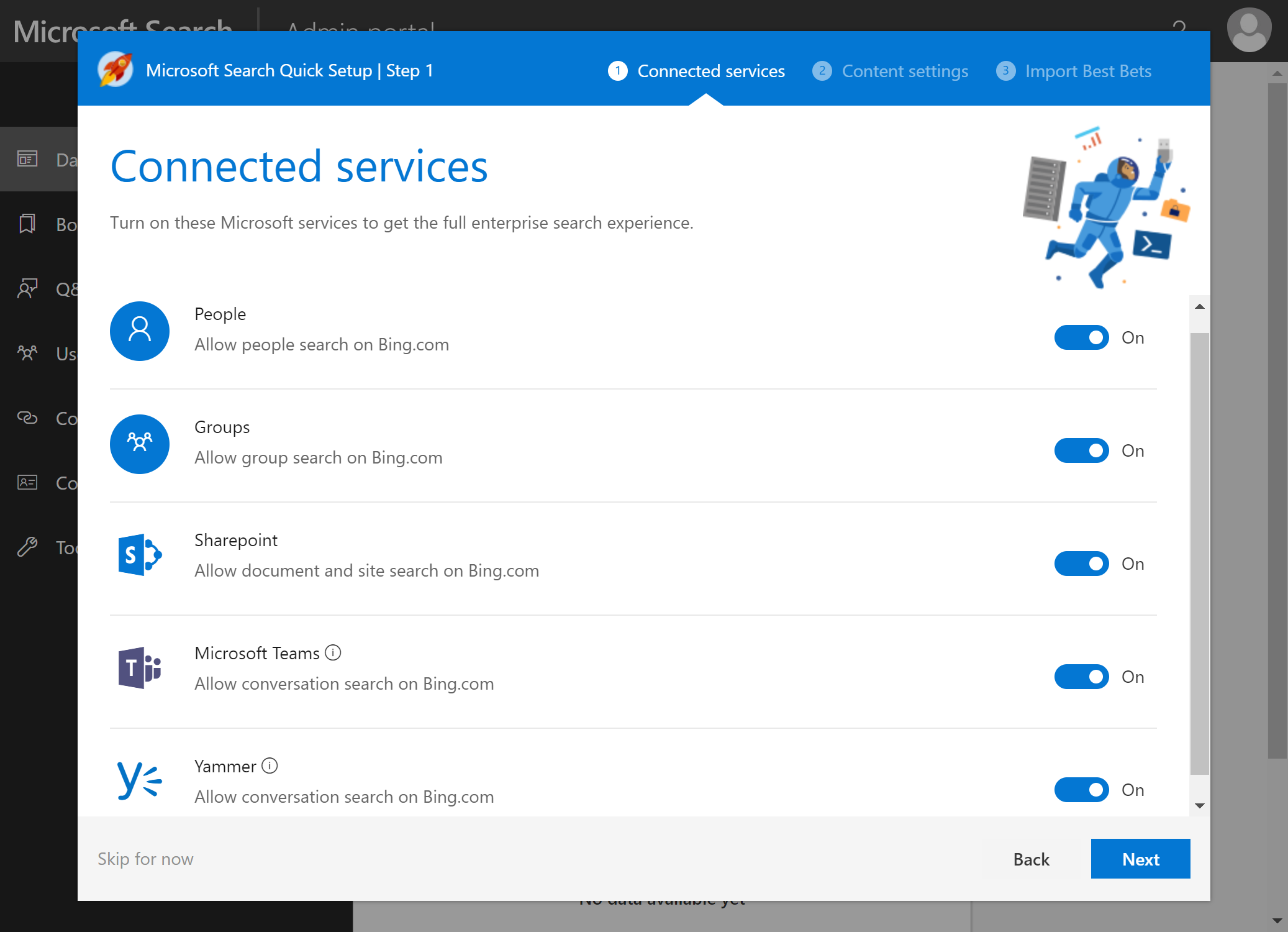Figure 3: First run experience for Microsoft Search