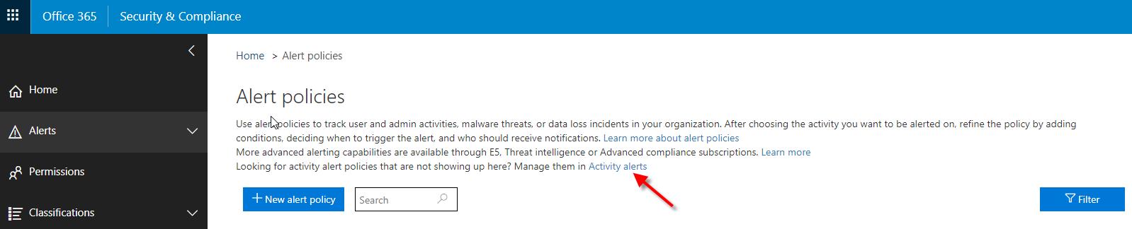 Activitiy Alerts 'Alert Policies' Screenshot