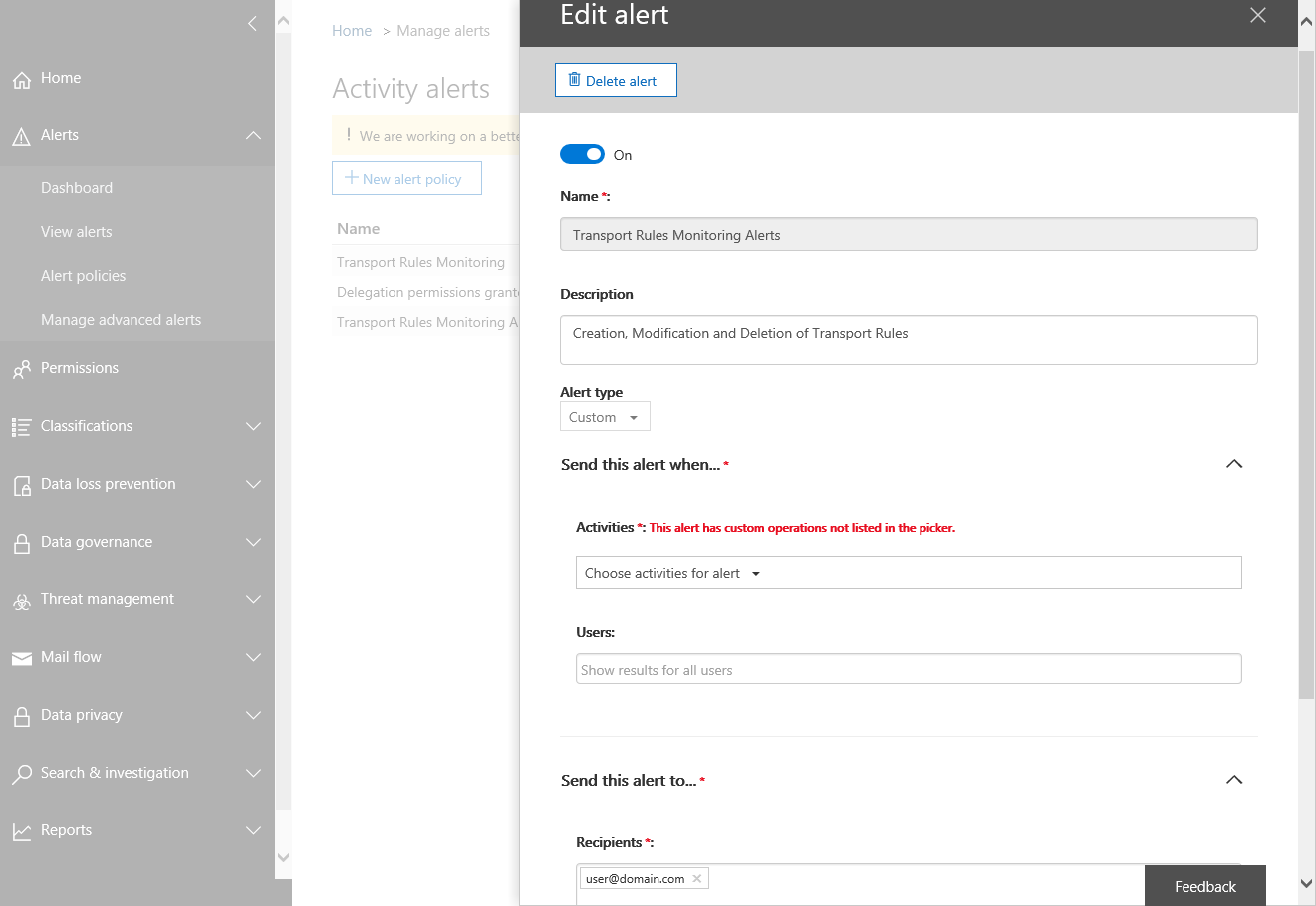 Activity Alerts Screenshot of Edit Alert
