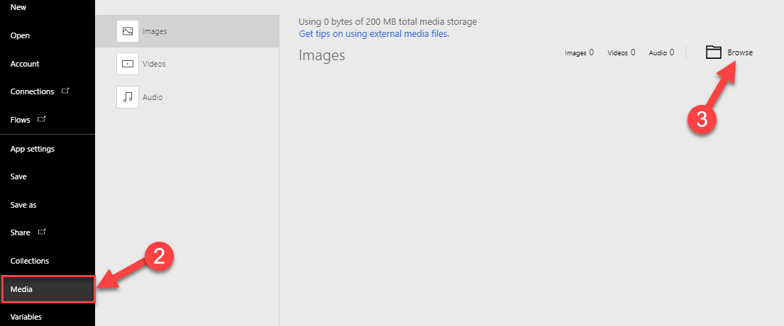 file, media and browse to upload images