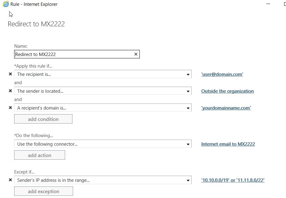 Redirect to MX2222 screenshot