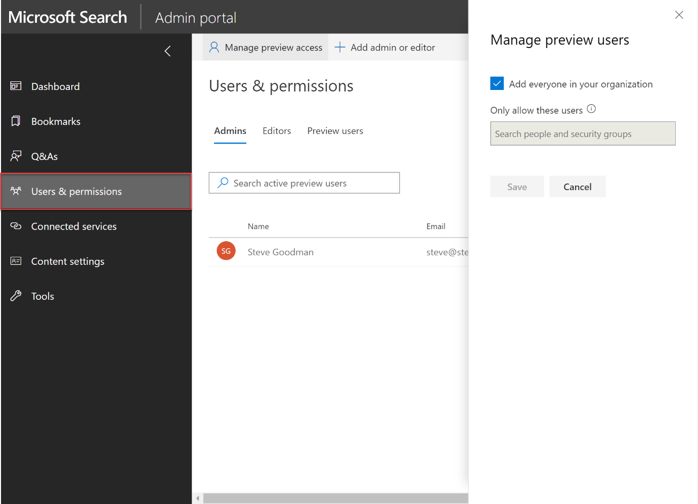 Figure 4: Selecting users and permissions