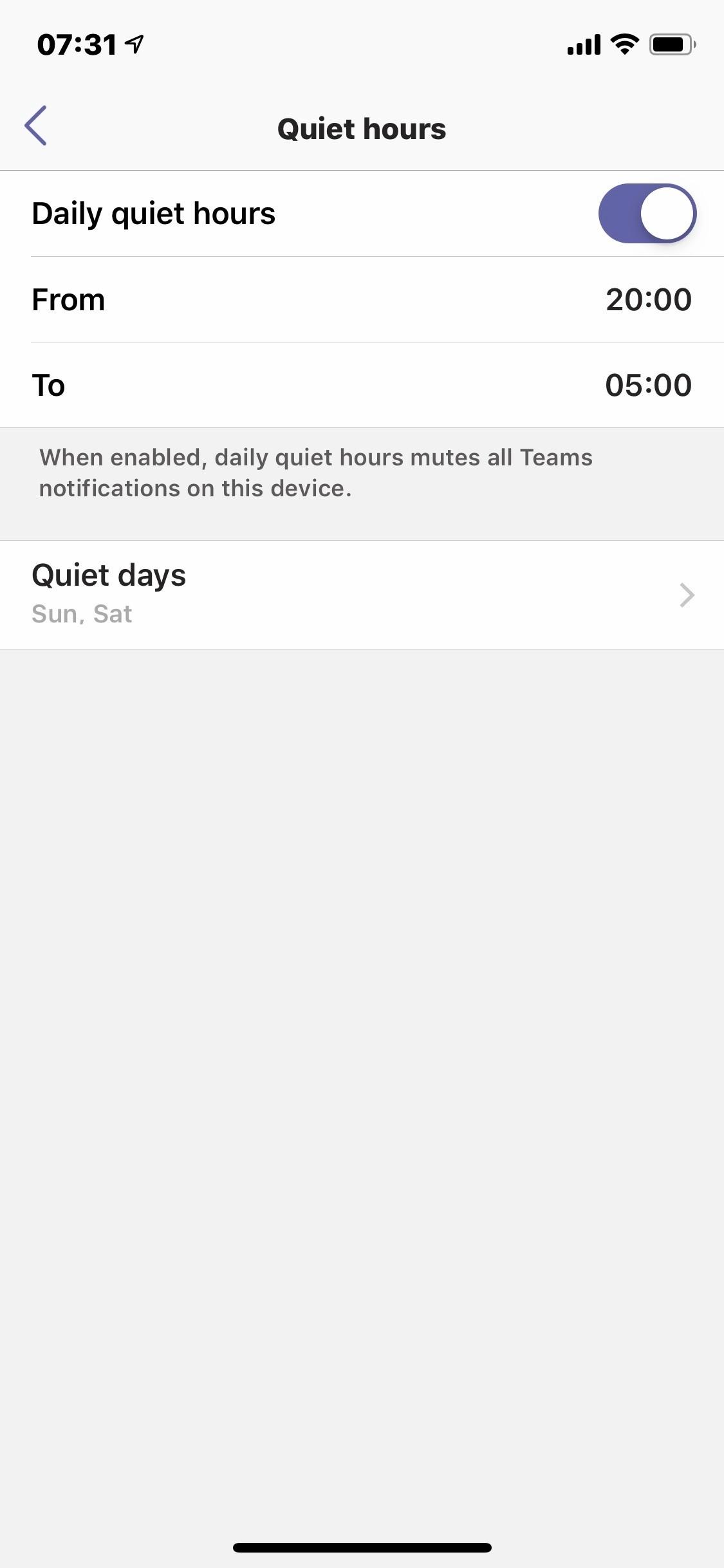 Teams Mobile Client Quiet Hours