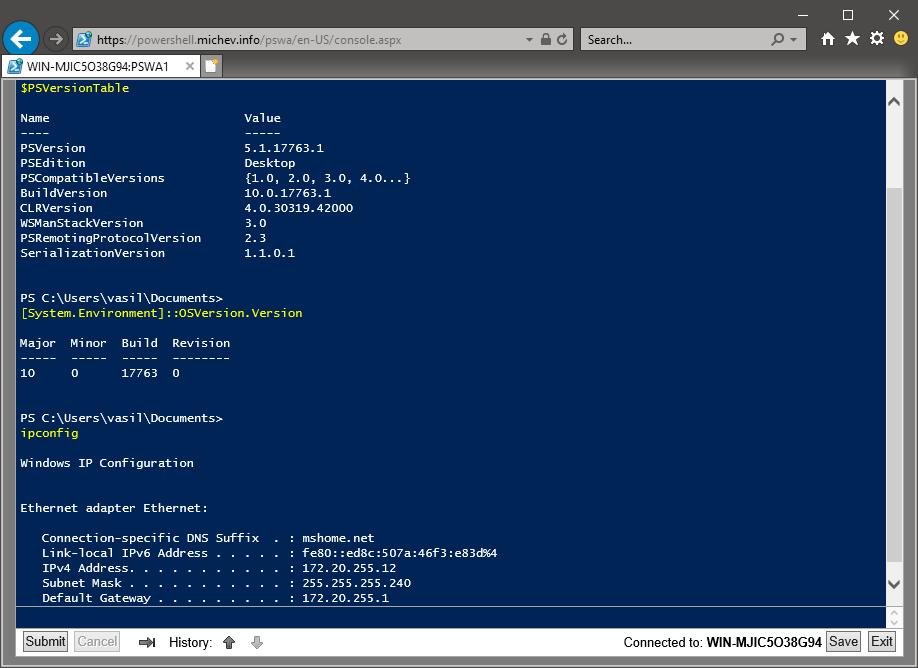 PowerShell Console Access Screenshot