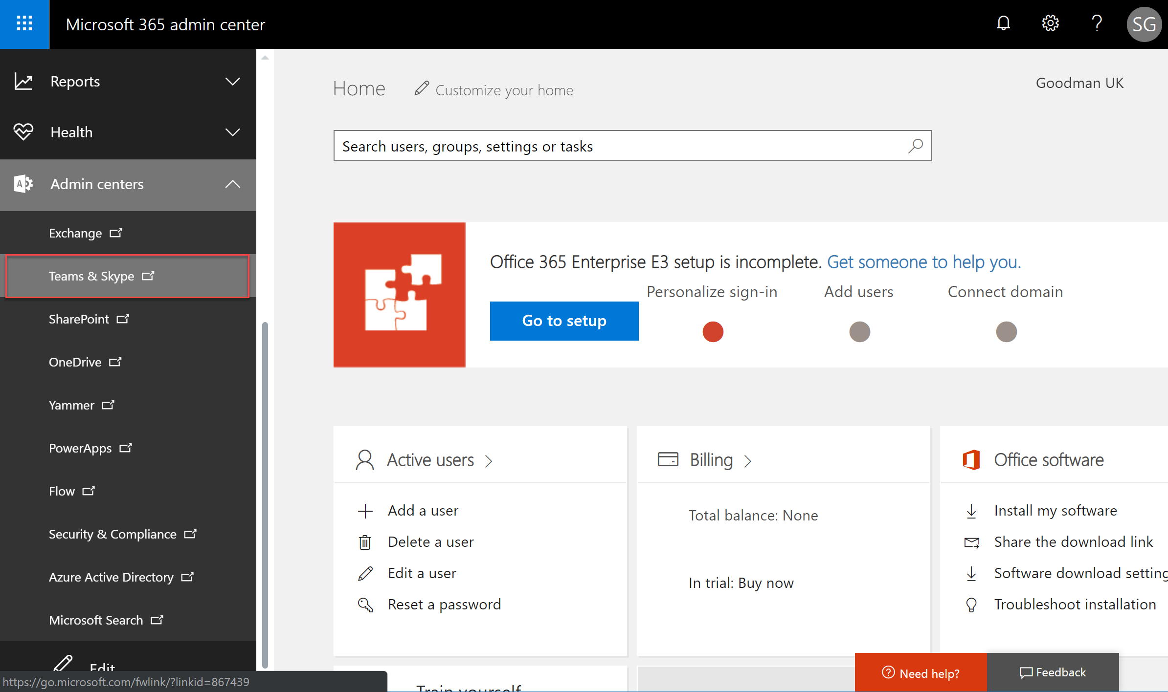 Microsoft 365 admin center