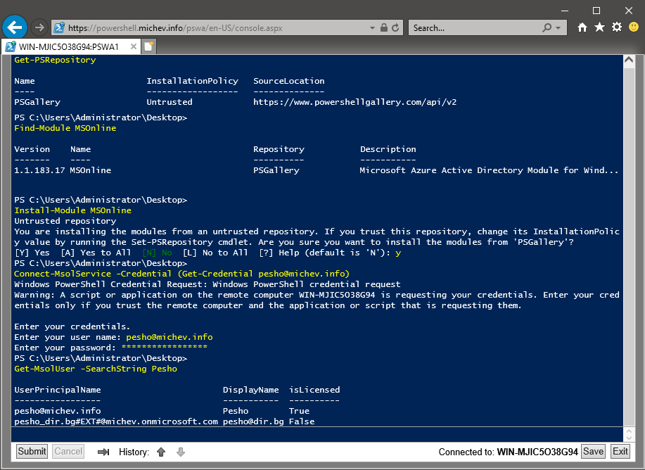 PowerShell Web Access Module