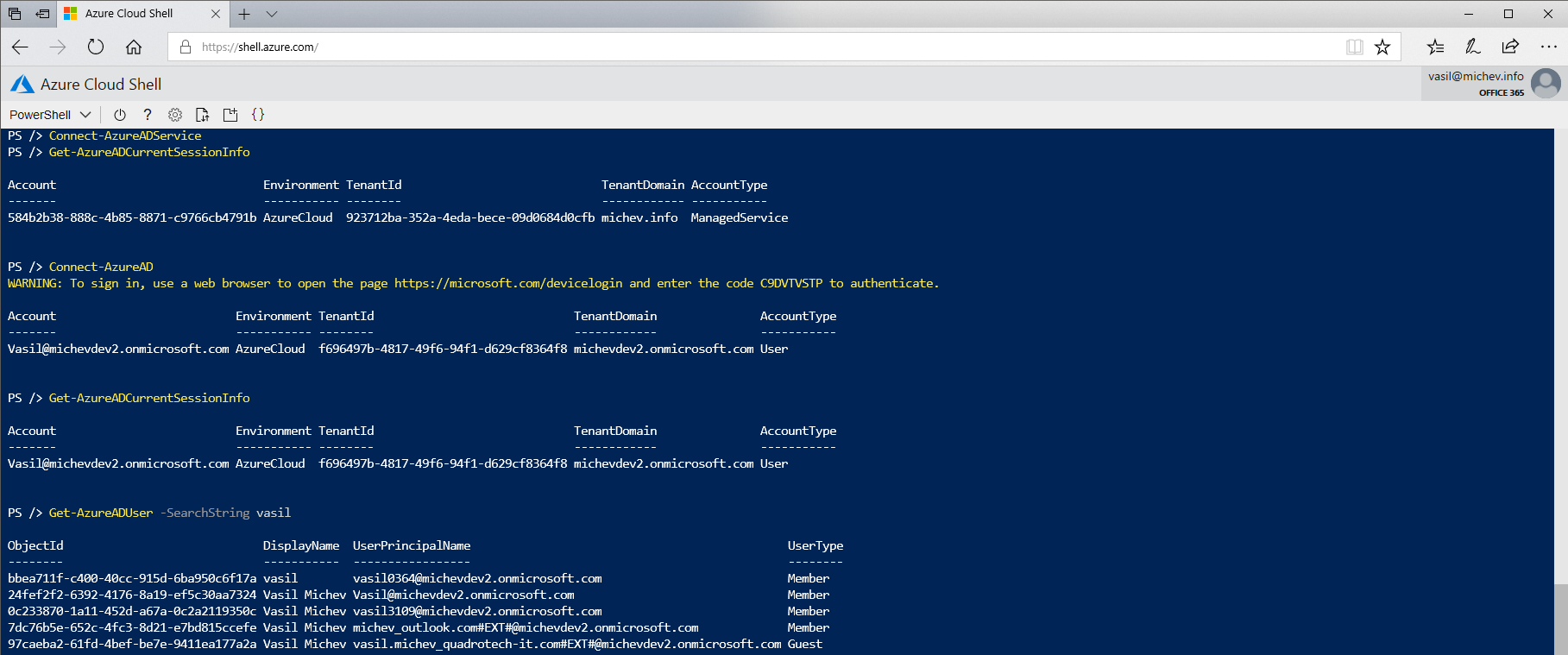 Another example of Azure Cloud Shell