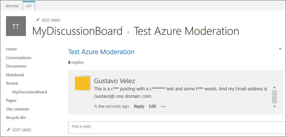 How to use the Azure Content Moderator in Office 365