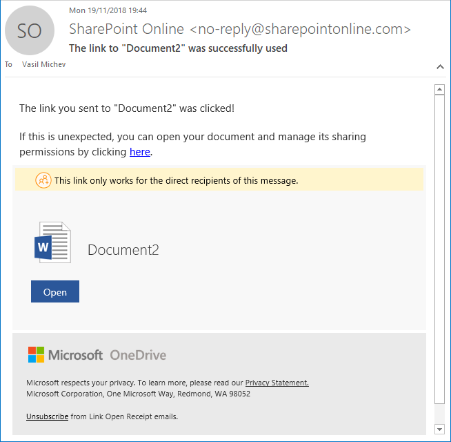 SharePoint Online Sharing Screenshot