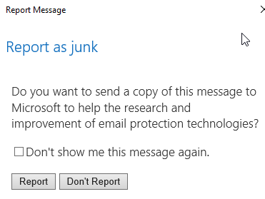 Report as junk screenshot