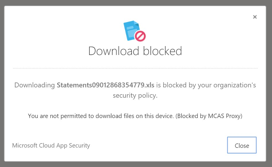 Download blocked notification.