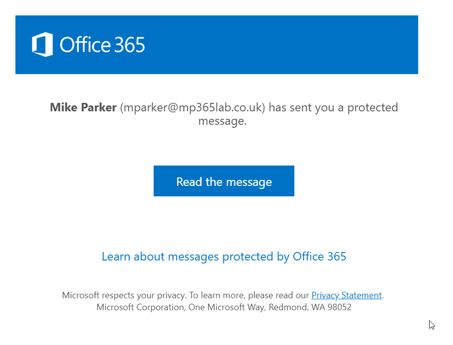 Office 365 Message Encryption screenshot