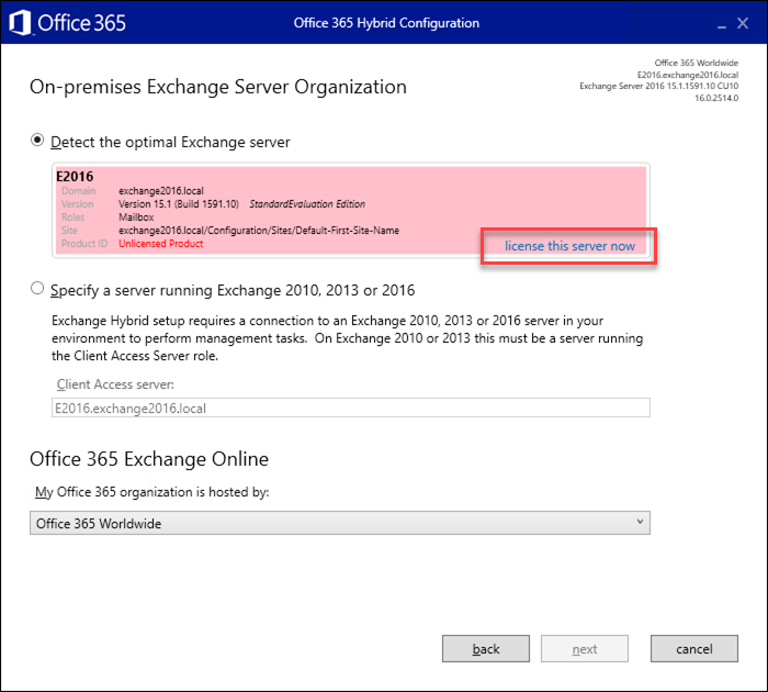 How to licence Exchange Hybrid servers