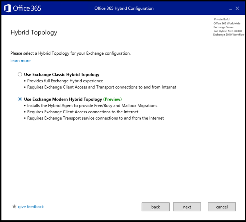 Hybrid Agent & Exchange Modern Hybrid now available as a public preview