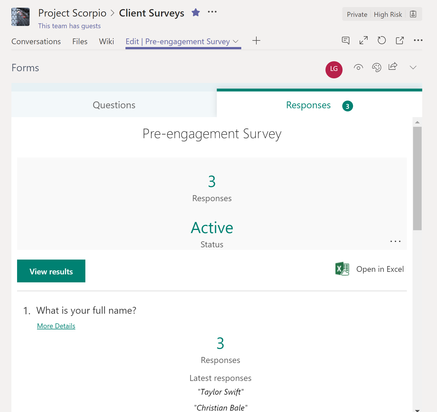 Use Microsoft Forms in Teams to work together managing