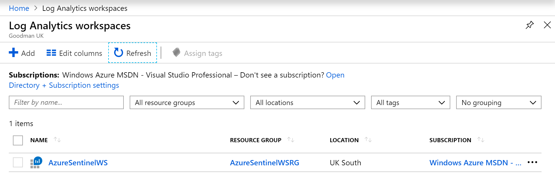 Azure Sentinel WS in Azure Portal