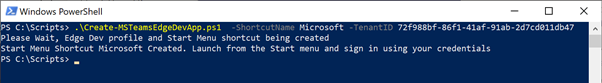 What PowerShell will look like when running Teams Web Apps