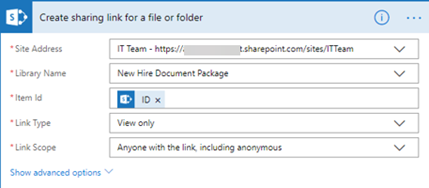 Create sharing link file or folder
