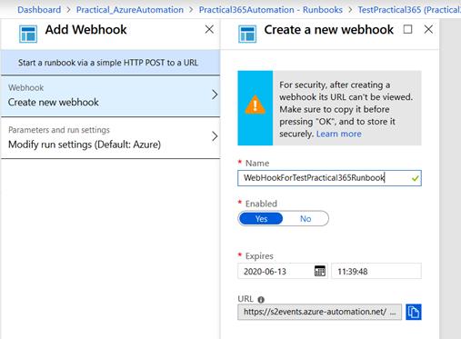 Add Webhook Azure Automation