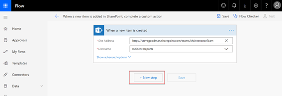 Create new step in SharePoint