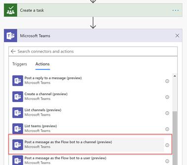 Create a task step to Microsoft Teams