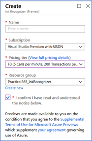 Create F0 account for Azure Ink Recognizer