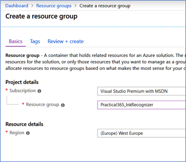 Step one in creating the Azure Ink Recognizer service