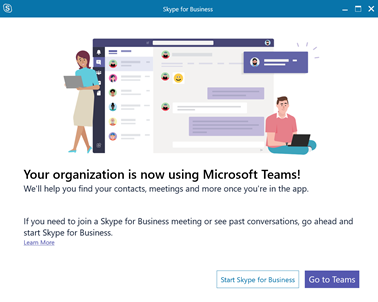 Your organization is now using Microsoft Teams