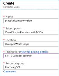 Create Azure OCR service