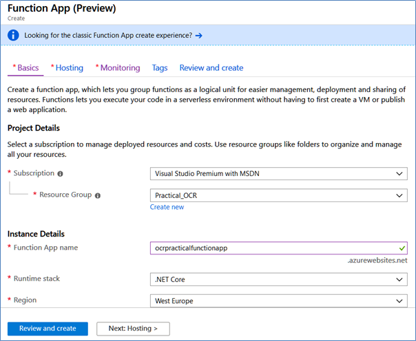 Function App Preview with Azure OCR