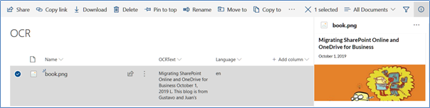 Azure OCR and SharePoint results