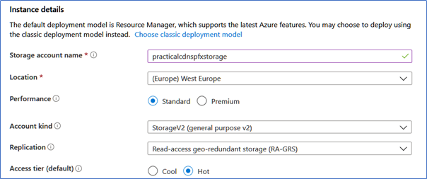Instance details for Azure CDN Profile