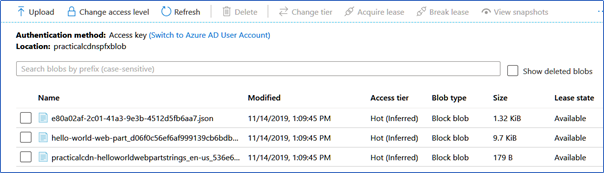 Upload the files to the Azure CDN storage