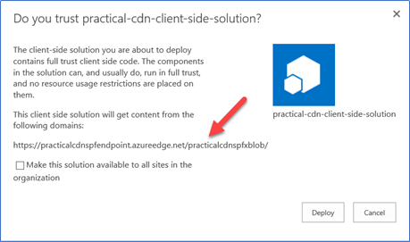 Message shown when upload file to Azure CDN