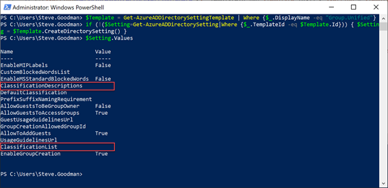 Powershell for group classifications