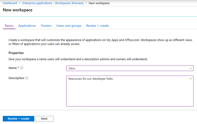 Configuring workspaces in Microsoft 365 apps