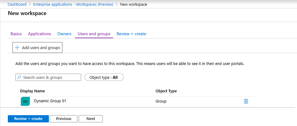 New workspace in Microsoft 365 apps