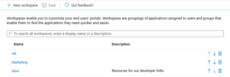 New workspace Microsoft 365 apps