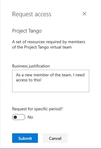 request access for entitlement management