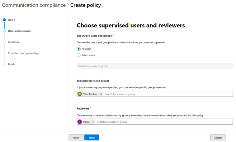 Choose supervised users and reviewers