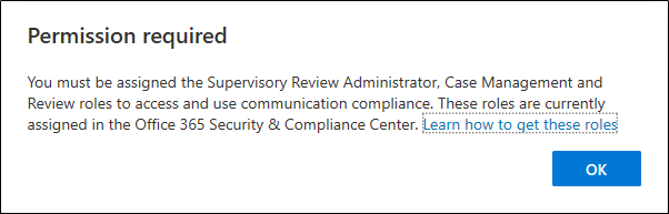Permission required for communication compliance