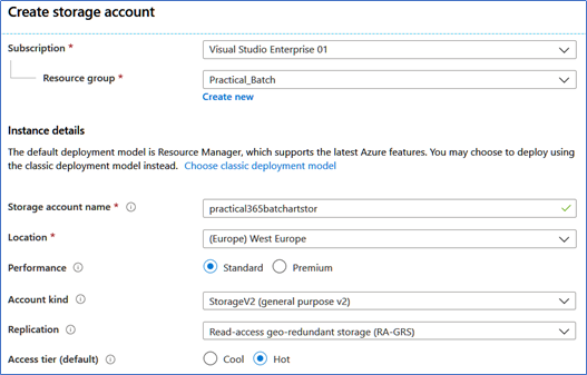 Create storage account for Azure Batch