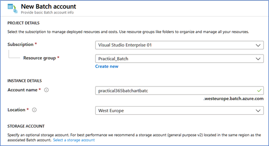 New Azure Batch account