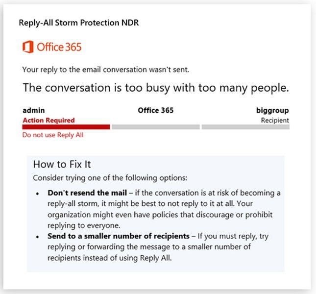 Reply All Storm Protection in Exchange Online