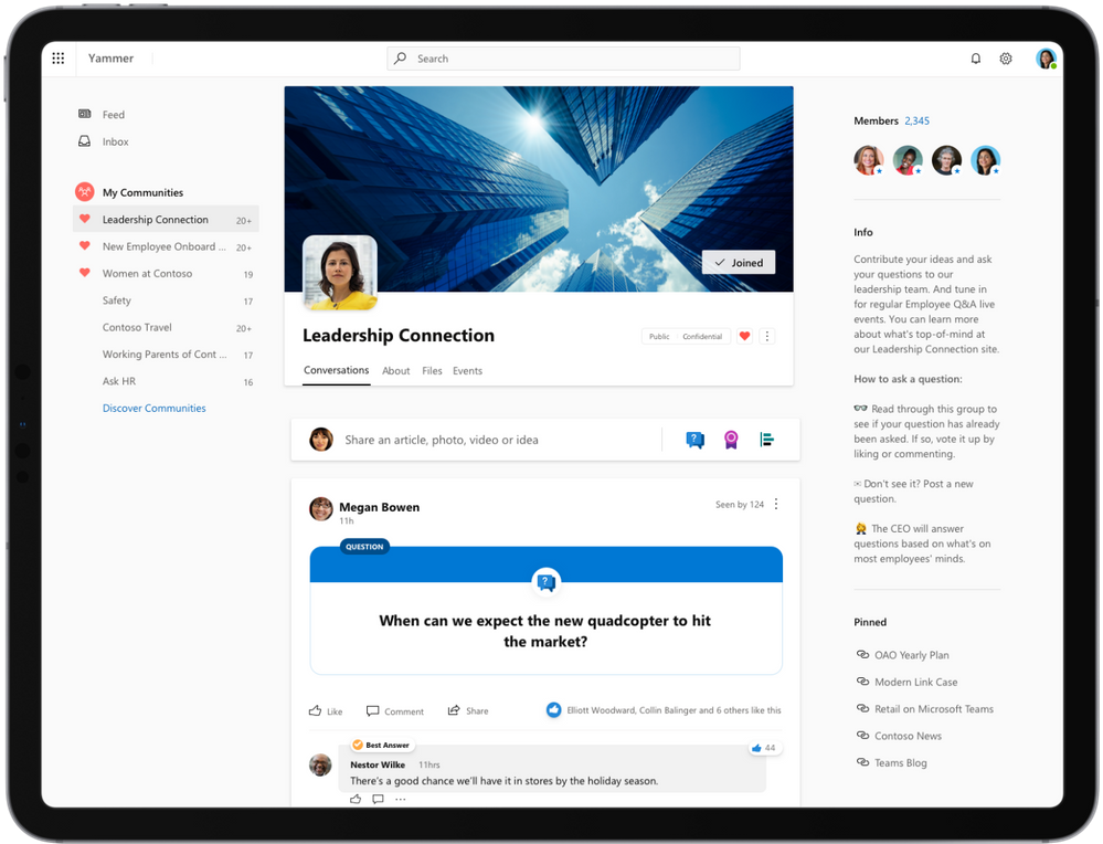 The new Yammer in Public Preview