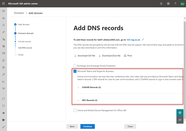 Add DNS records