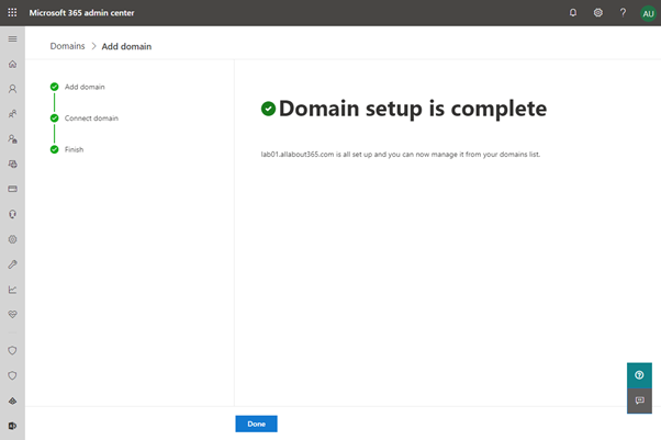 Domain Setup is complete
