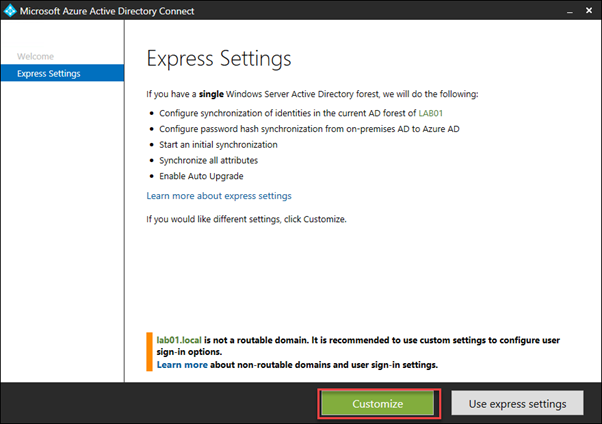 Azure AD Connect Express Settings