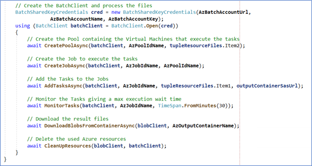 Azure batch script screenshot